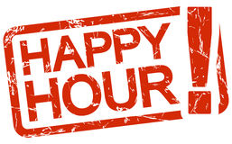 Red stamp with text Happy Hour Stock Photography