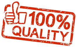 Red stamp with text 100% quality Stock Images