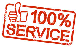 red stamp with text 100% Service Stock Photography