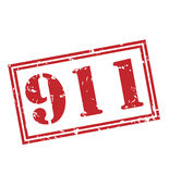 911 red stamp. On white background Stock Photos