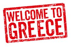 Red stamp on a white background - Welcome to Greece Royalty Free Stock Photography