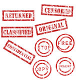 Red stamps collection Royalty Free Stock Photo