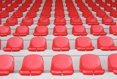 Red stand. Red seats on a stand Stock Photo