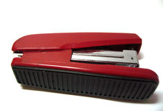 Red stapler isolated on the white background Royalty Free Stock Photo