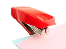 Red stapler. Isolated on white background stock images