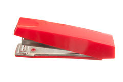 Red stapler. Isolated on white background royalty free stock image