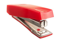 Red stapler. Isolated on white background Stock Image