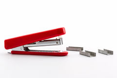 Red Stapler with staples wires Royalty Free Stock Image