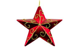 Red star. Christmassy red star with white background Royalty Free Stock Photo
