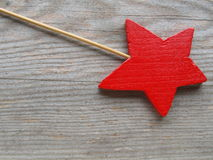 Red star. On wooden board Stock Photography