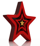 Red star 3d icon. Isolated on white with reflective floor Stock Images