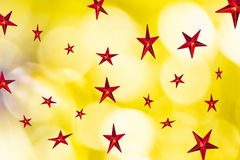 Red star on  abstract bokeh Royalty Free Stock Photos