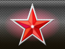 The red star is on a background grid. Royalty Free Stock Photos