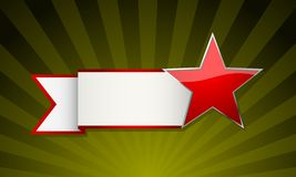 Red star banner. Red star with ribbon over festive green background Royalty Free Stock Images