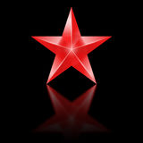 Red star on black background Stock Photos
