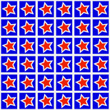 Red star on blue pattern background Royalty Free Stock Photos