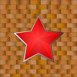 Red Star with Brick Wall. 23 February. Vector Illustration Royalty Free Stock Images