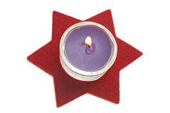 Red star with candle Royalty Free Stock Image