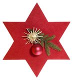 Red star with christmas decoration Royalty Free Stock Image