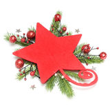 Red star with christmas decoration Stock Image