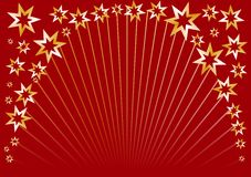 Red Star Circle. Christmas background in red with golden Stars. Get the  file for best usability Stock Images