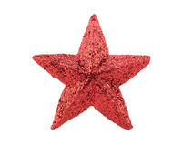 Red star for decor christmas isolated on white background Royalty Free Stock Images