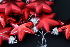Red star decorations. For a christmas tree Stock Photos