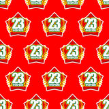 Red Star and 23 February seamless pattern. Background for feast. Of military in Russia. Text to Russian translate: 23 February. Ornament for congratulatory card Stock Photos