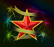 Red star and fireworks. Red star and fireworks are is on black background Royalty Free Stock Images