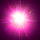 Red star flash. On a dark background Royalty Free Stock Photo