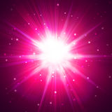 Red star flash. On a dark background Stock Photography