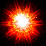 Red star flash. On a dark background Royalty Free Stock Images
