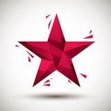 Red star geometric icon made in 3d modern style, best for use as Royalty Free Stock Photos