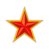 Red star with gold edging icon. Stock Photos