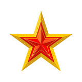 Red star with gold edging icon. Royalty Free Stock Photography