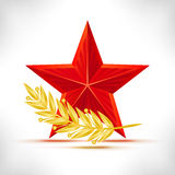 Red star and gold laurel wreath. Royalty Free Stock Photo