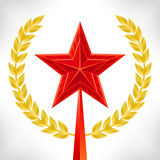 Red star and gold laurel wreath. Stock Images