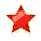 Red star with gold metal rim and radiating from the center rays. Realistic symbol of the USSR with reflexes and Royalty Free Stock Photography