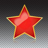 Red star with gold metal rim and radiating from the center rays. Realistic symbol of the USSR with reflexes and. Reflections. Soviet red star, isolated on Royalty Free Stock Images