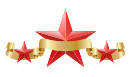 Red star with golden ribbon Royalty Free Stock Images