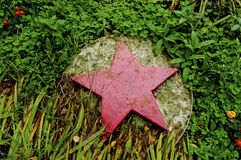A red star in the grass. Red star of cement among the green grass Royalty Free Stock Photos