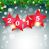 Red star 2015 Happy New Year Background. Sample vector illustration