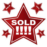 Red Star Icon Set: Sold. Set of 5 red icons in an star button style - sale/discount signs Royalty Free Stock Photo
