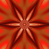 Red star kaleidoscope pattern for banner or card, red snowflake royalty free stock images