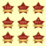 Red Star labels. With golden frames and ribbons. Authentic product, Original product, Best quality, Best offer, Guaranteed Royalty Free Stock Photos