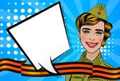 Red star 9 may russian victory day. Russian blonde girl cartoon comic pop art uniform greetings veterans Great war. Red star garrison cap, St. George ribbon royalty free illustration