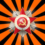 Red star 9 may russian victory day sun beam. Happy Victory Day card on St. George striped sun beam background. Greeting medal with inscription Patriotic war for Royalty Free Stock Images