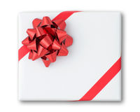 Red star and Oblique line ribbon on box Stock Photo