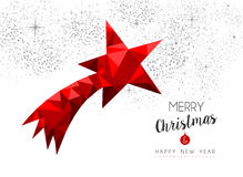 Red star ornament decoration for christmas card Stock Image