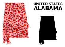 Red Star Pattern Map of Alabama State
